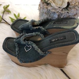 Splash distressed denim diamond faux wood wedges